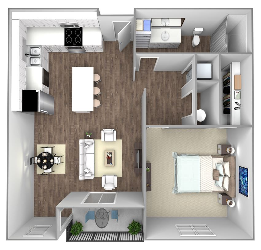 Floor Plan B: 1 Bedroom, 1 Bathroom - 769 SF